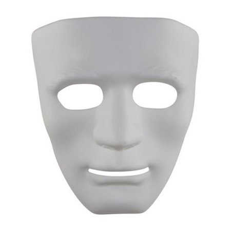 White Full Face Dance Plastic Costume Mask - One Size (White Face Mask Costume)