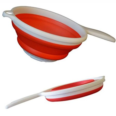 "Premium Collapsible Colander, Strainer, Red, Silicone 1"" Flat Space Saver, Hot or Cold"