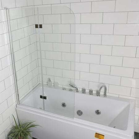 Costway Fold 335x550frameless Hinged Shower Bath Door Tempered