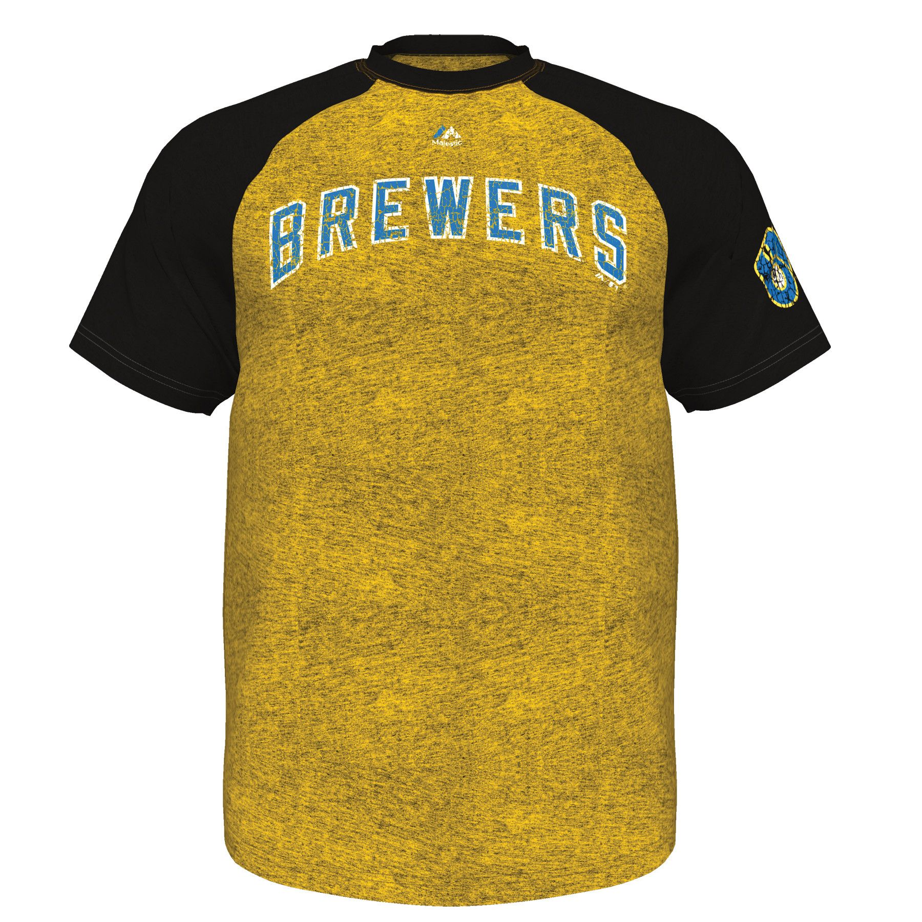 Milwaukee Brewers Retro Show Men's Distressed Yellow Gold T-Shirt