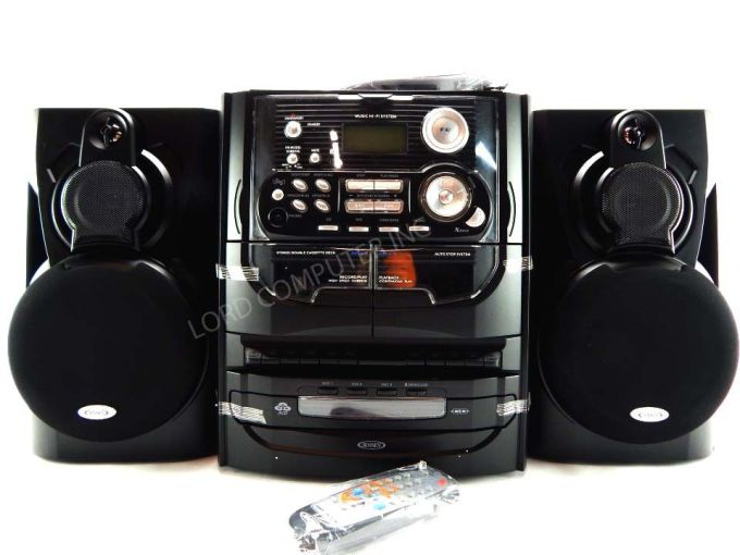 Jensen 3-Speed Stereo Turntable with 3 CD Changer and Dual Cassette Deck- Black by Supersonic