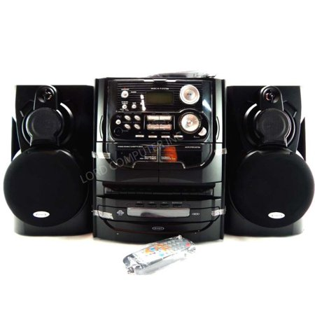 Jensen 3-Speed Stereo Turntable with 3 CD Changer and Dual Cassette Deck- Black by