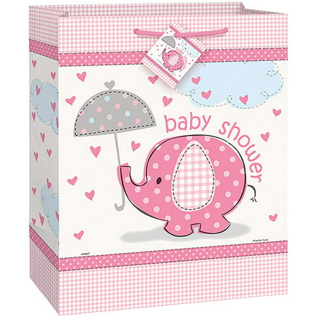 Pink Elephant Baby Shower Gift Bag - Baby Shower Bags