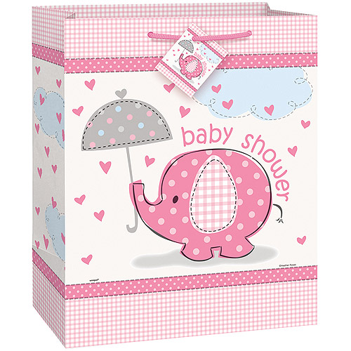 Elephant Baby Shower Gift Bag, 13 x 10.5 in, Pink, 1ct