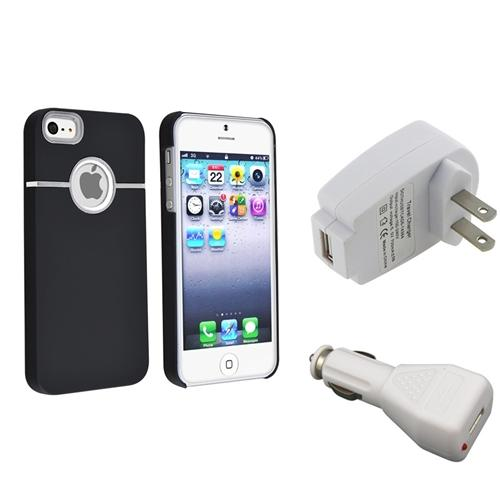 INSTEN Black Chrome Hard Back Case with Round Hole+White AC Wall+Car Charger For iPhone 5 5s