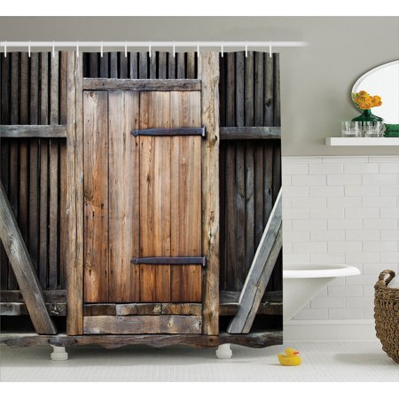 Antique Decor Shower Curtain Set Rustic Wooden Door Exterior Facades Rural Barn Timber Weathered