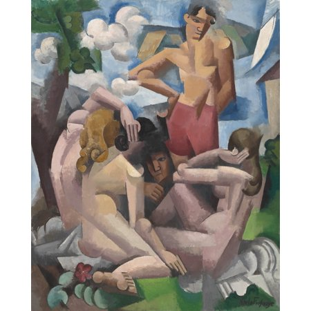 The Bathers By Roger De La Fresnaye 1912 French Painting Oil On Canvas De La FresnayeS Work Evolved To A Decorative Style An Orphist Offshoot Of Cubism Led By Jacques Villon Poster