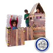 """16-Piece Cabin Fantasy Fort Indoor Building Kit with Sturdy 22"""" Sq. Cardboard Panels and Hook and Loop Connectors"""