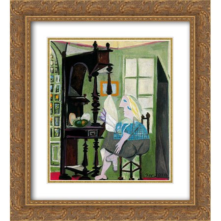 Pablo Picasso 2x Matted 20x24 Gold Ornate Framed Art Print 'Woman by the dresser'