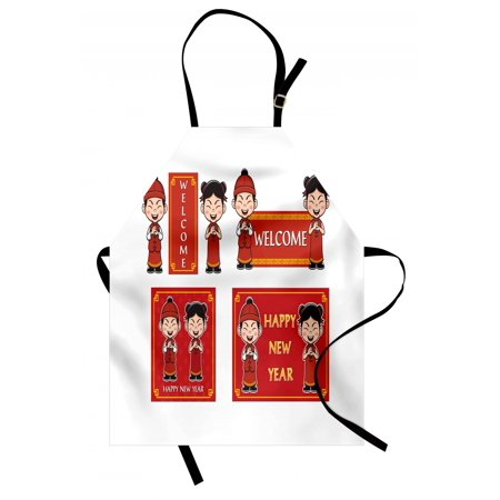 - Chinese New Year Apron Happy Wishes and Greeting with Little Boys Girls Joyful Lunar Festival, Unisex Kitchen Bib Apron with Adjustable Neck for Cooking Baking Gardening, Multicolor, by Ambesonne