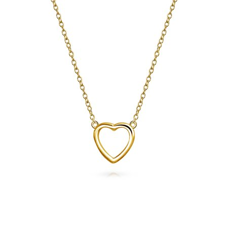 Small Simple Minimalist Heart Pendant Necklace For Women For Girlfriend Teen 14K Gold Plated 925 Sterling Silver 14k Gold Small Heart