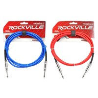 """2 Rockville 6'  1/4"""" TS to 1/4'' TS Guitar/Instrument Cable (Red and Blue)"""