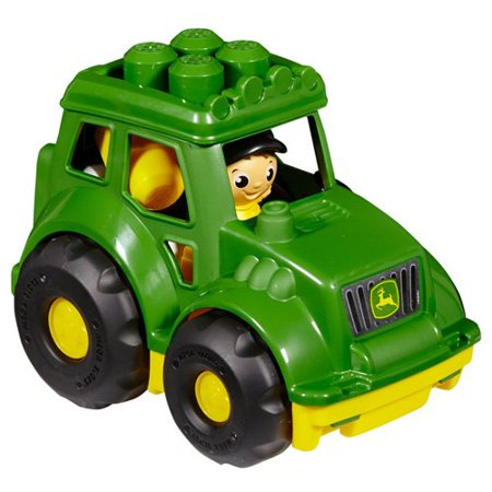 John Deere Tractor, Sturdy, John Deere branded tractor with pronged building base and big wheels By Mega Bloks Ship from US ()