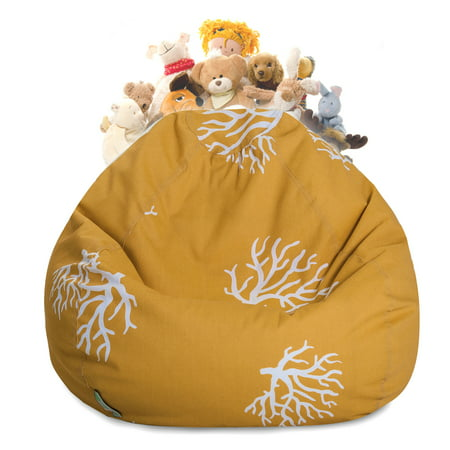 Majestic Home Goods Coral Stuffed Animal Storage Bean Bag Chair Cover w/ Transparent Mesh Base, Multiple Colors ()