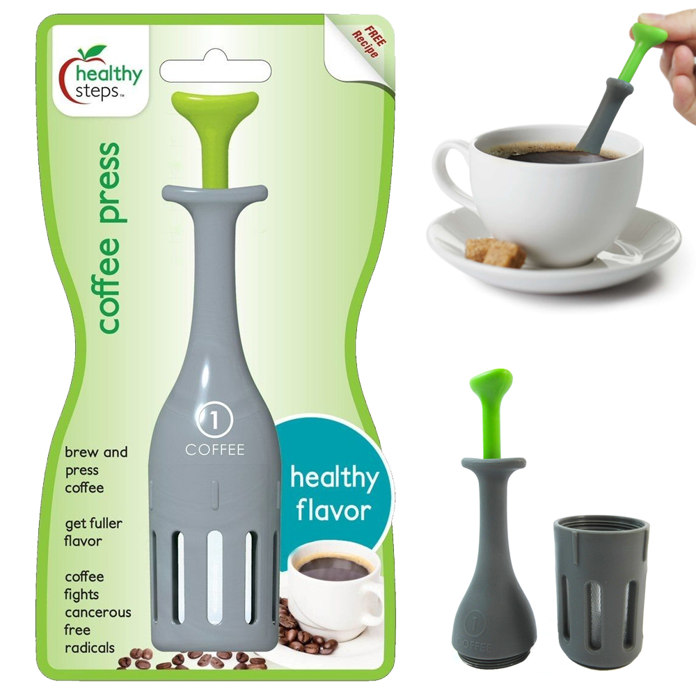 Jokari Healthy Steps Single Serve One Cup Style French Coffee Press Maker Travel