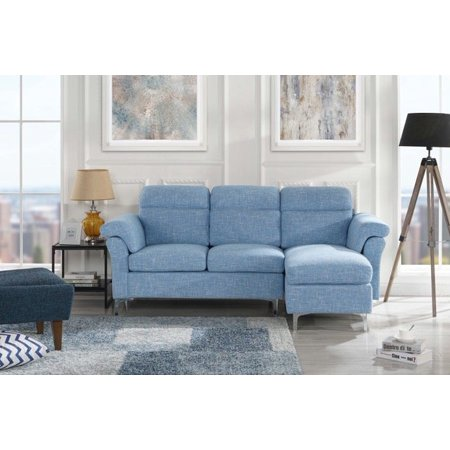 Modern Linen Fabric Sectional Sofa - Small Space Couch (Light Blue)