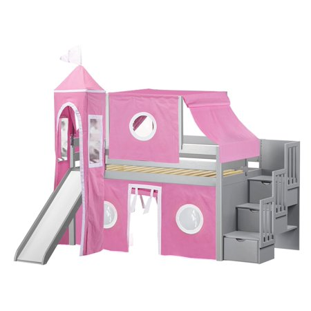 Twisted Slide (Princess Low Loft Stairway Bed with Slide Pink & White Tent and Tower Loft Bed Twin Gray)