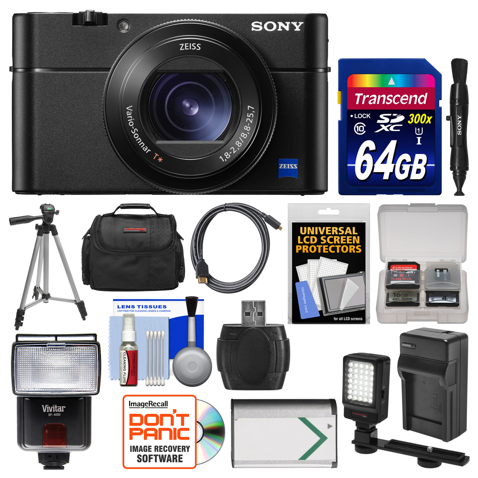 Sony Cyber-Shot DSC-RX100 V 4K Wi-Fi Digital Camera with 64GB Card + Case +
