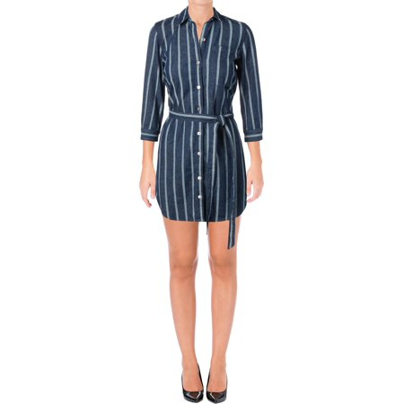 7 For All Mankind Womens 3/4 Sleeves Knee-Length Shirtdress Blue XS
