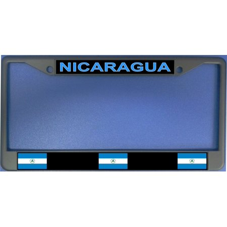 Ufo Cap - Nicaragua Flag Photo License Plate Frame   Free Screw Caps with this Frame