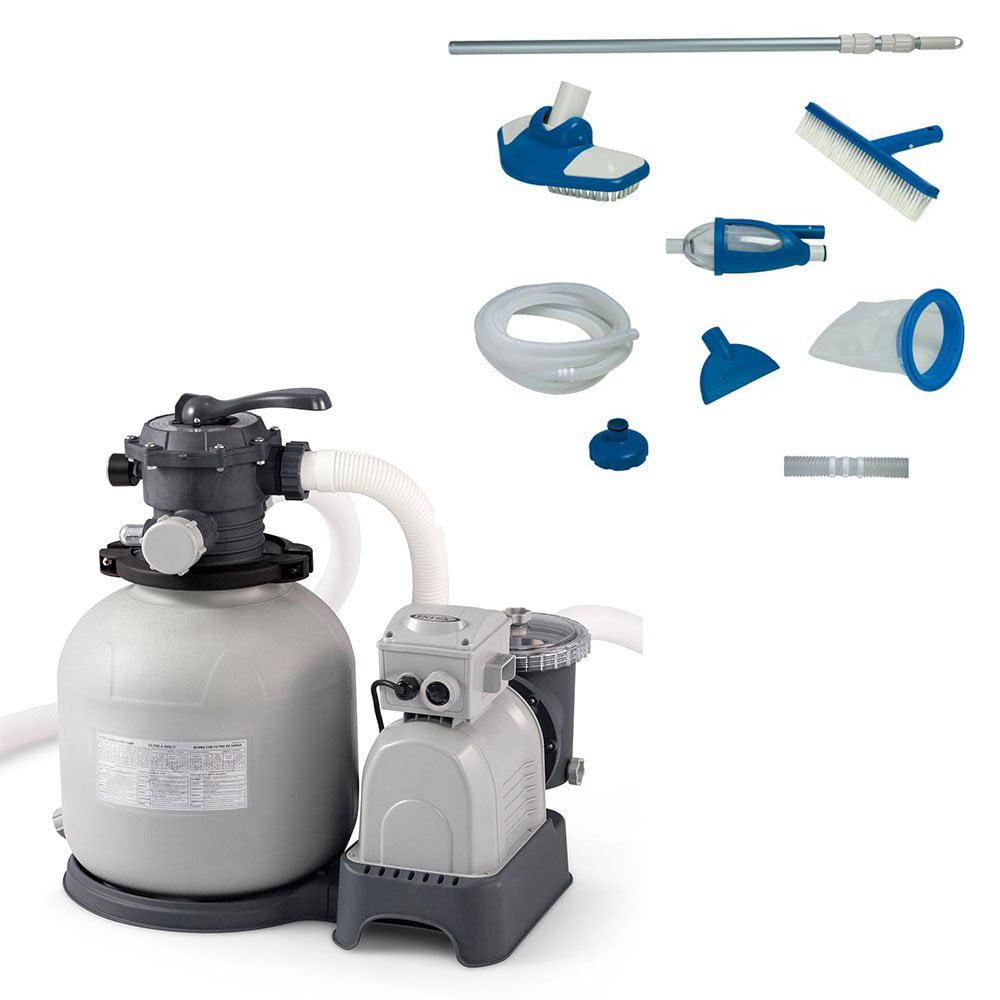 Intex Krystal Clear 3000 GPH Sand Filter Pump + Deluxe Pool Maintenance Kit