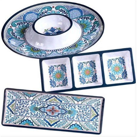 Certified International Talavera Multicolored Melamine 3 Piece Hostess Serving Set  Floral Pattern  Durable  Dishwasher Safe  Perfect For Indoor And Outdoor Use