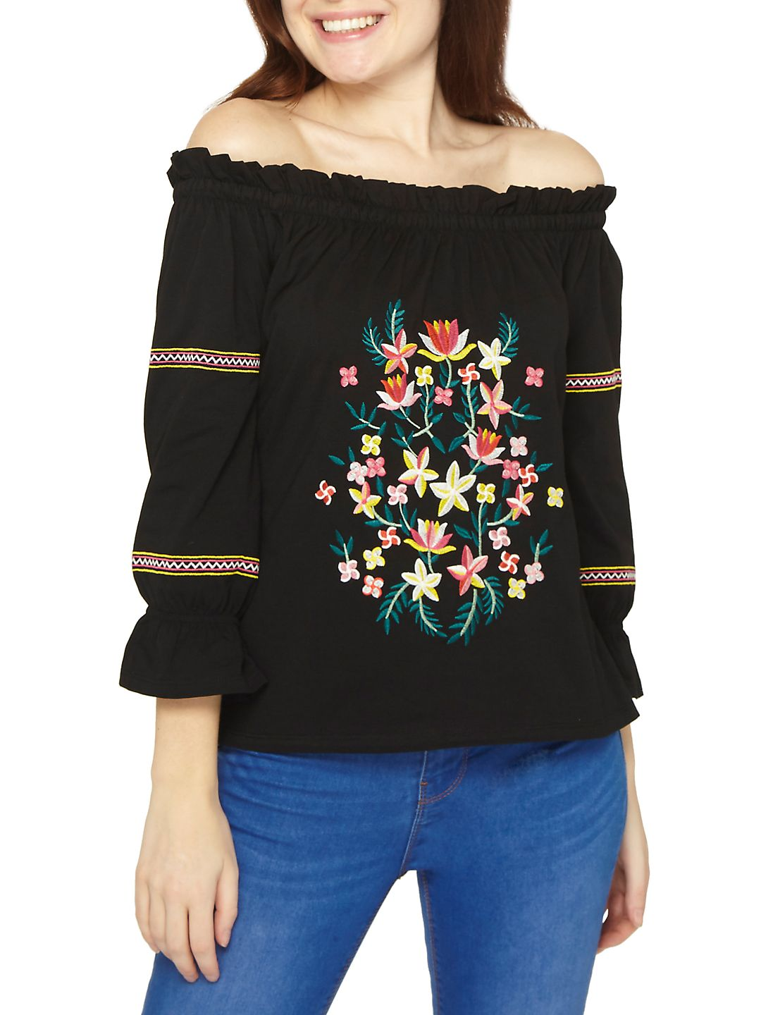 Embroidered Off-the-Shoulder Cotton Top