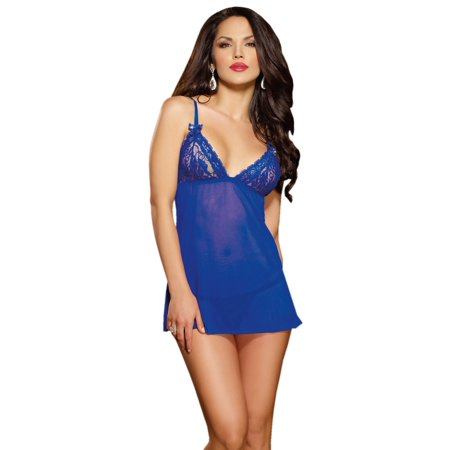 53e63ebf8 Sheer Lace and Mesh Blue Babydoll Nightie Lingerie with Lace Thong 2 Piece  Set