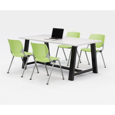 KFI Midtown Office Table Set, Designer White Top, 4 Lime Green KOOL Chairs