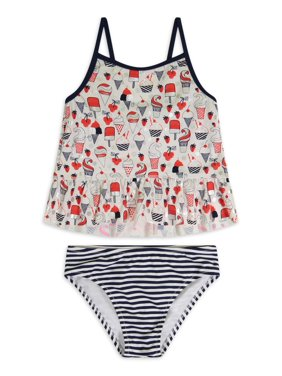 Tommy Bahama Ice Cream Printed Two-Piece Tankini Swimsuit with Striped Bottom Girls 7-16