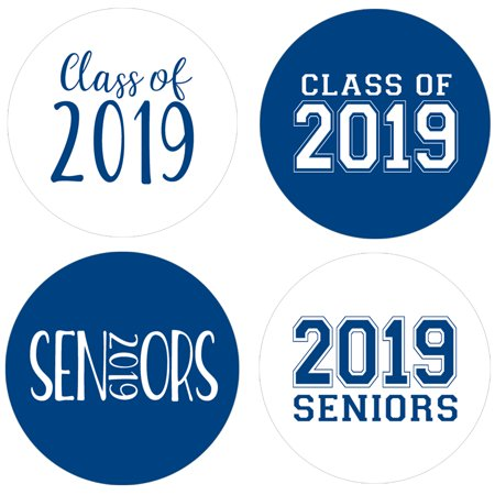 Halloween Party Ideas For Senior Citizens (Class of 2019 Party Favor Labels, 60ct - Blue Senior Class Graduation Party Supplies - 60 Count Stickers (1 3/4)