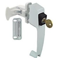 White Push Button Latch With Key Lock