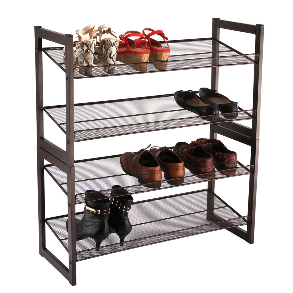 LANGRIA 4 Tier Angled Metal Mesh Shoe Rack Storage Shoes Rack ...