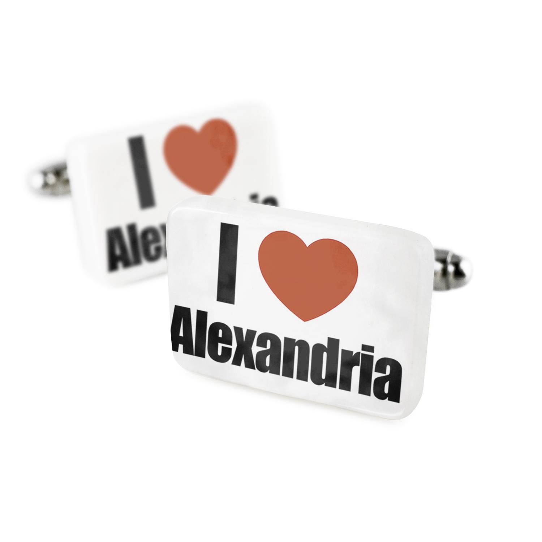 Cufflinks I Love Alexandria region: Egypt, Africa Porcelain Ceramic NEONBLOND