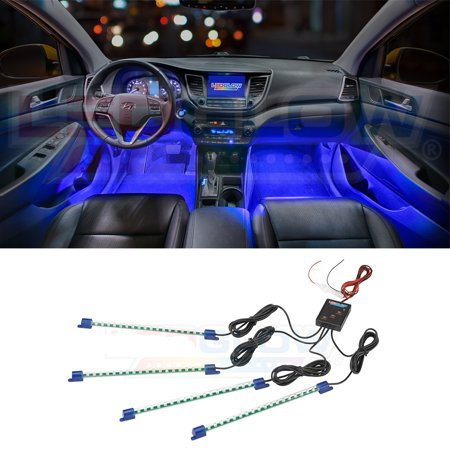 Ledglow 4pc Blue Led Interior Underdash Lighting Kit
