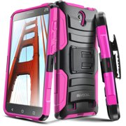 ZTE ZMAX 2 Case, Evocel® Rugged Holster Dual Layer Case [Kickstand] [Belt Swivel Clip] HD Screen Protector For ZTE ZMAX 2 (Z958 / 2015 Release), Pink (EVO-ZTEZ958-AB205)