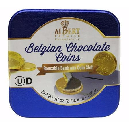 Albert Premier Belgian Chocolate Coins Reusable Bank with Coin Slot 36 OZ