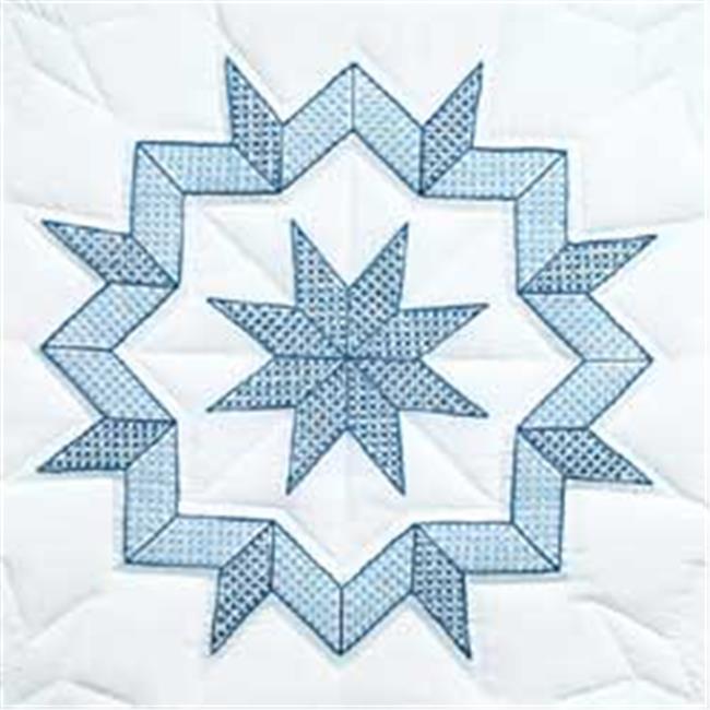 281023 Stamped White Quilt Blocks 18 in. x 18 in. 6-Pkg-Kaleidoscope Star