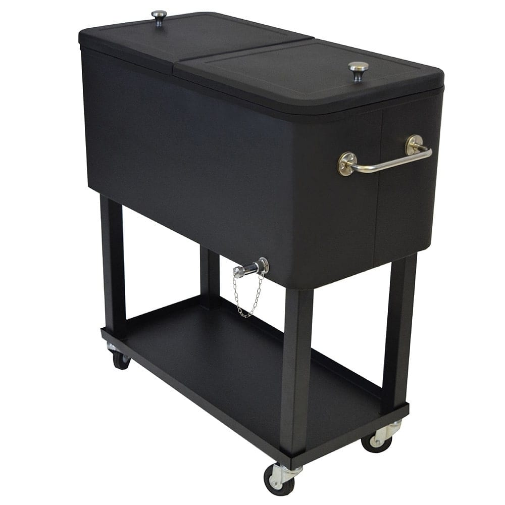 Oakland Living Corporation Premium Steel 20-gallon Black 1-inch Insulated Party Cooler Cart with Locking Wheels