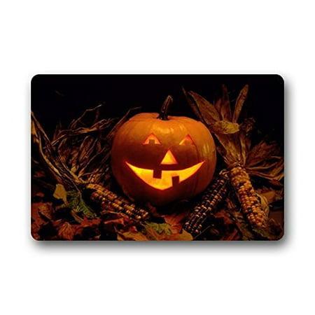 WinHome Happy Halloween Pumpkin Doormat Floor Mats Rugs Outdoors/Indoor Doormat Size 23.6x15.7 inches - 100 Floors Halloween Level 60
