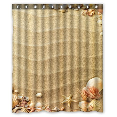 GCKG Love Beach Sand Sunlight Hearts Seashells Starfish Waterproof Polyester Shower Curtain Bathroom Deco 66x72 inches