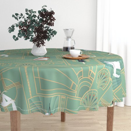 Round Tablecloth Art Deco Large Scale Art Deco Transport Sunburst Cotton Sateen ()