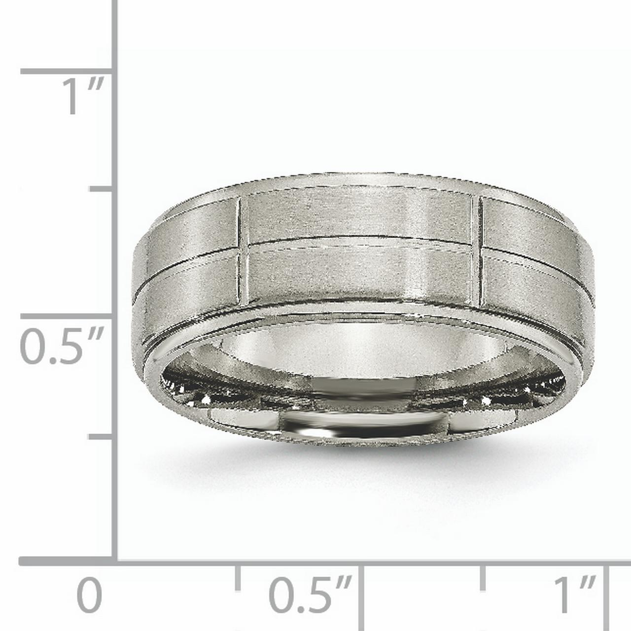 Bridal & Wedding Party Jewelry Jewelry & Watches Titanium Grooved Ridged Edge 8mm Brushed Wedding Ring Band Size 8.50 Fashion