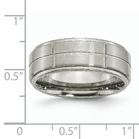 Titanium Grooved Ridged Edge 8mm Wedding Ring Band Size 7.50 Fashion Jewelry For Women Gifts For Her - image 1 de 10