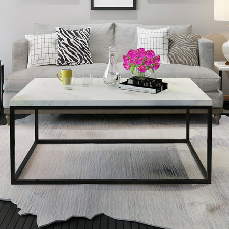 Gymax Modern Rectangular Cocktail Coffee Table Metal Frame Living Room (Zuo Modern Modern Coffee Table)
