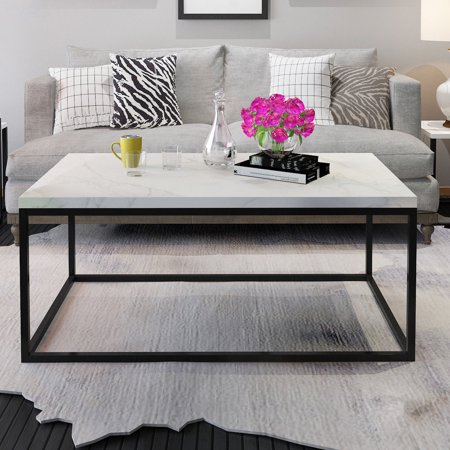 Gymax Modern Rectangular Cocktail Coffee Table Metal Frame Living Room (Living Room Metal Table)