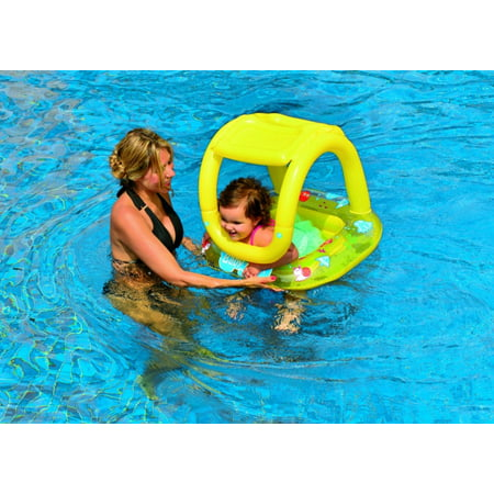 - Inflatable Baby Swimming Pool Float with Sunshade Yellow Sea Creature