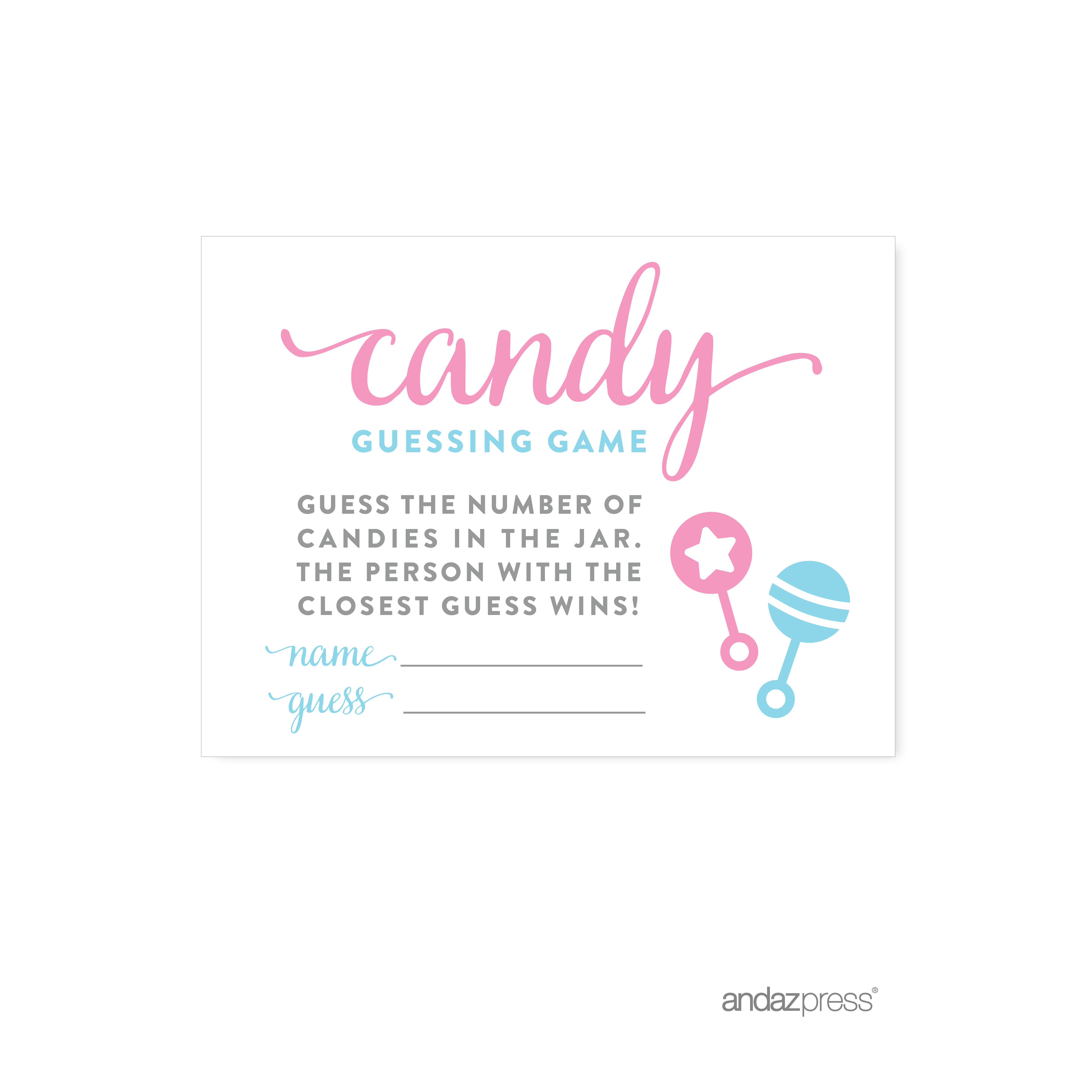 Candy Guessing Game Team Pink Blue Gender Reveal Baby Shower Games