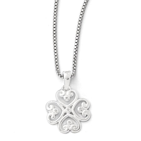 925 Sterling Silver (0.018cttw)Ss White Ice .01 Diamond Heart Necklace -18
