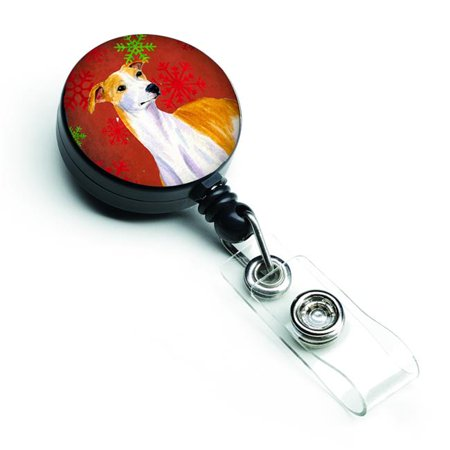 Whippet Red & Green Snowflakes Holiday Christmas Retractable Badge Reel - image 1 de 1